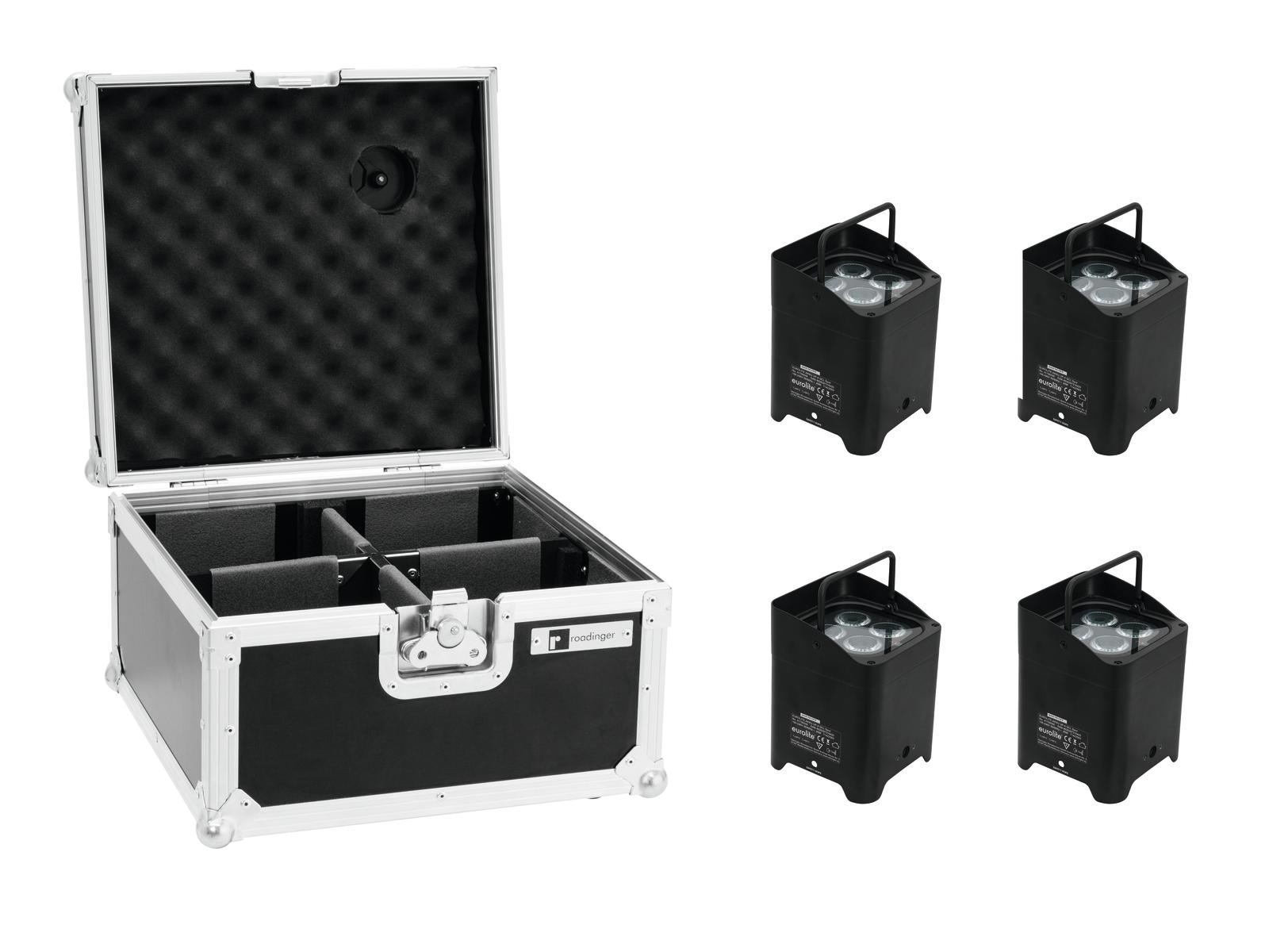EUROLITE Set 4x AKKU UP-4 HCL Spot WDMX bk + Flightcase