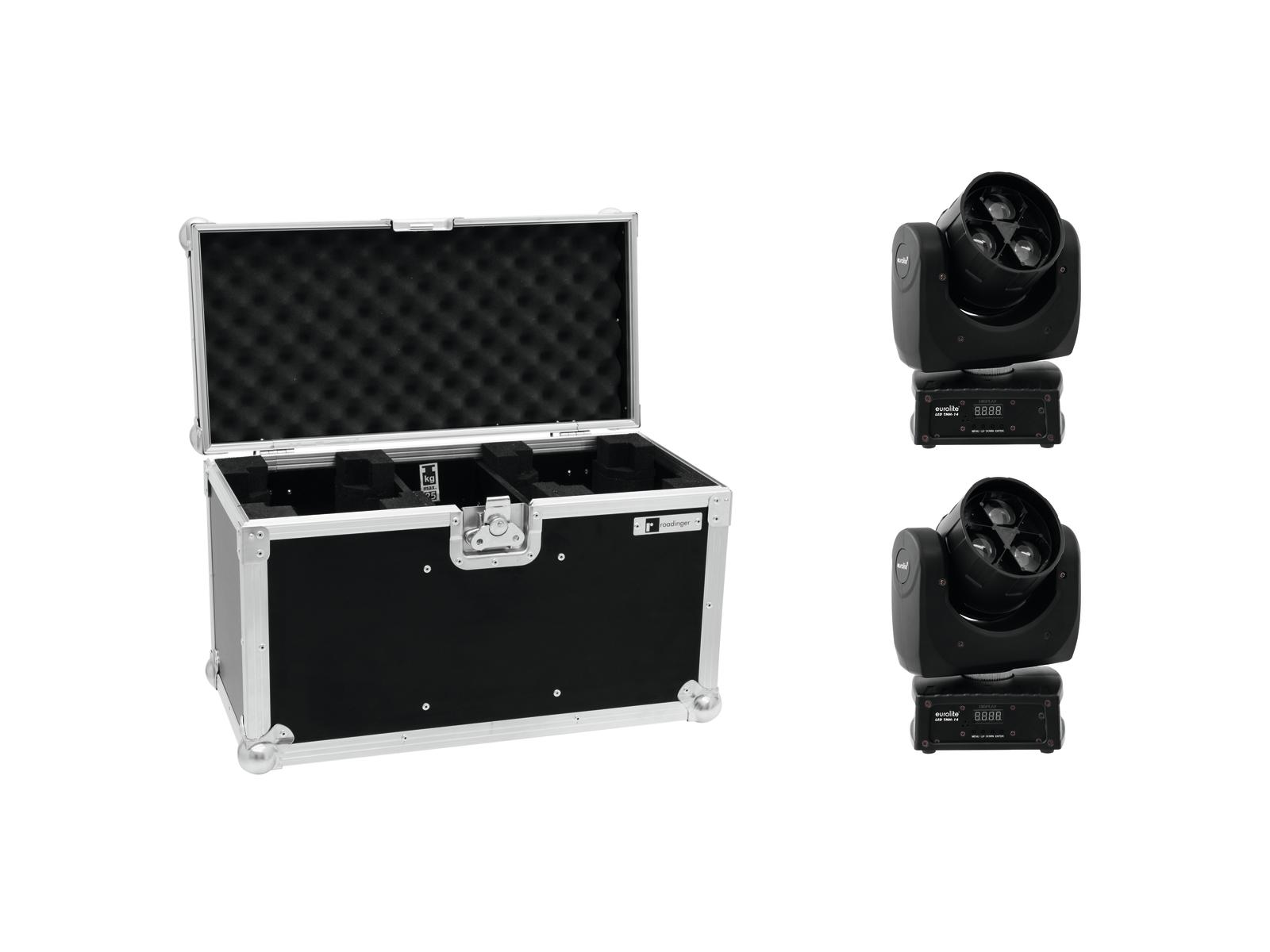 EUROLITE Set 2x LED TMH-14 Moving-Head Zoom Wash + Caso