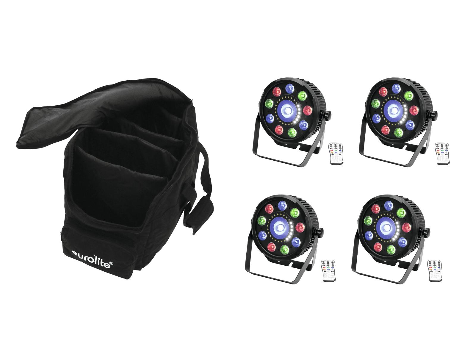 EUROLITE Set 4x LED SLS-9 Ibrido HCL + Soft Bag