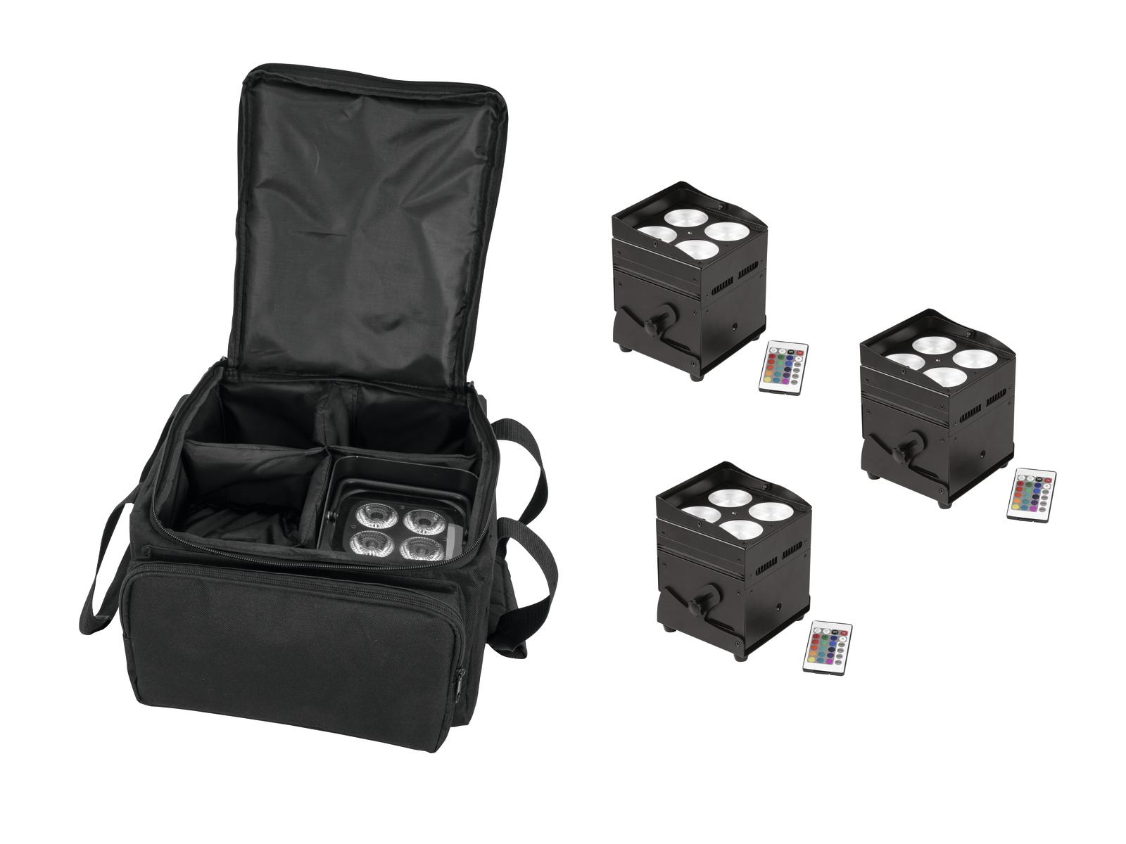 EUROLITE Set 4x AKKU UP-4 QLC Posto QuickDMX + SB-4 Soft-Bag L