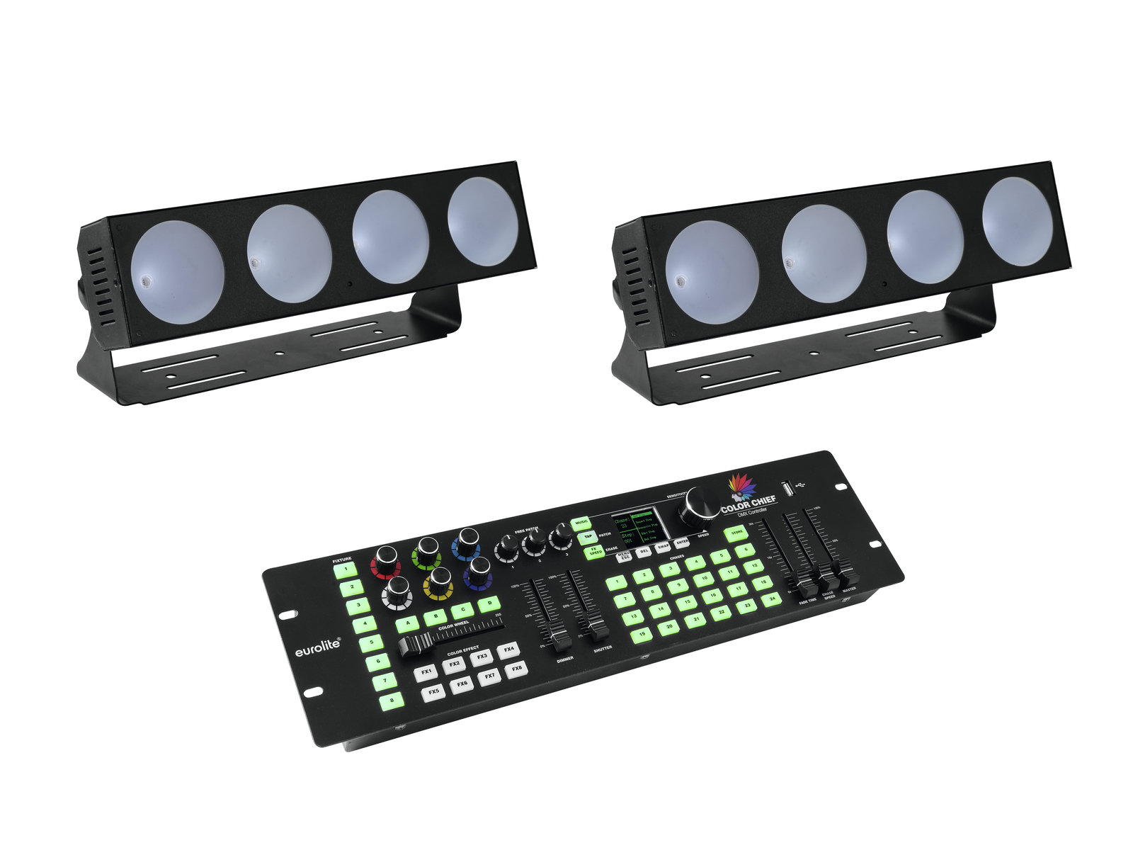 EUROLITE Set 2x LED CBB-4 + DMX LED di Colore Chief Controller