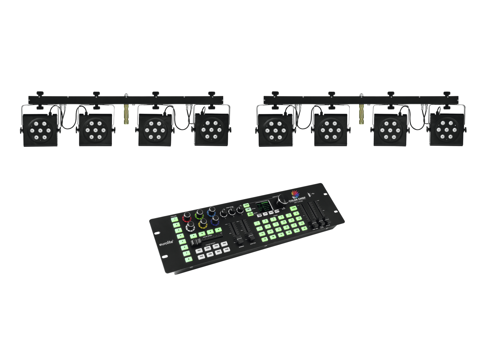EUROLITE Set 2x KLS-801 + DMX LED di Colore Chief Controller
