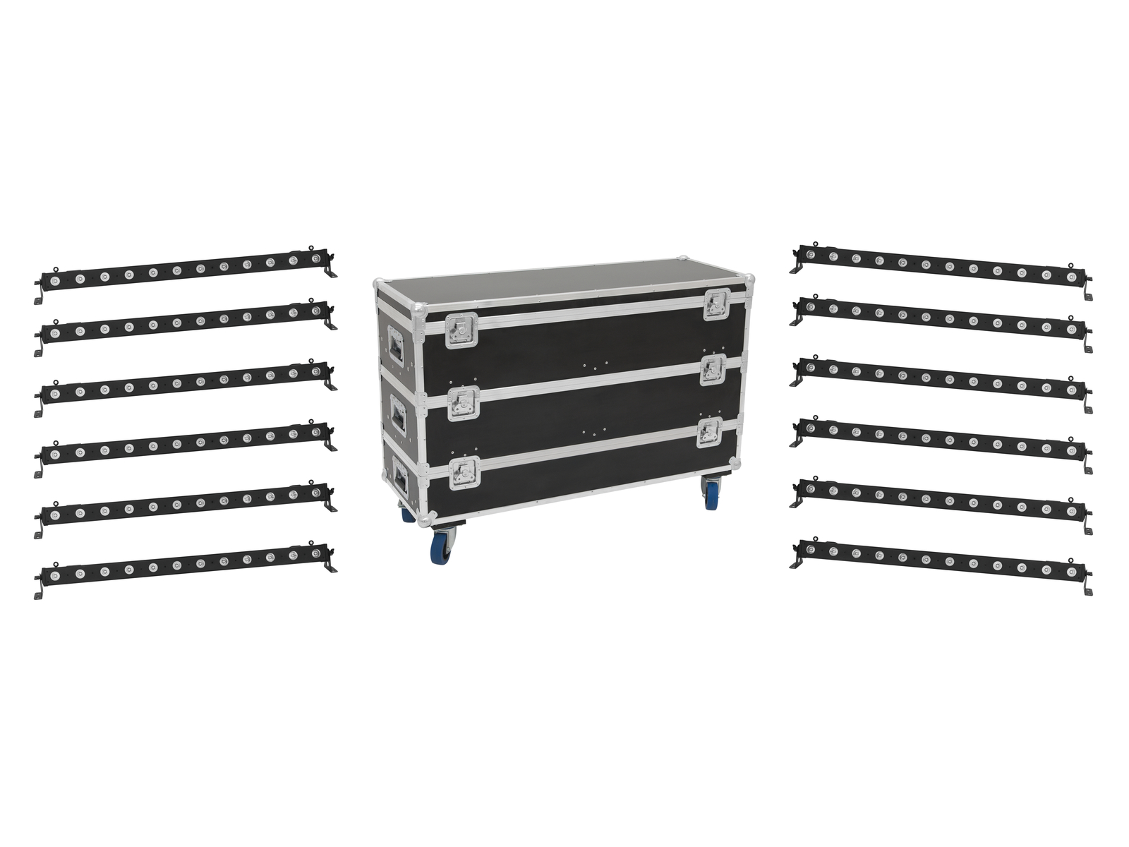 EUROLITE Set 12x LED BAR-12 QLC RGBW Bar + Caso L