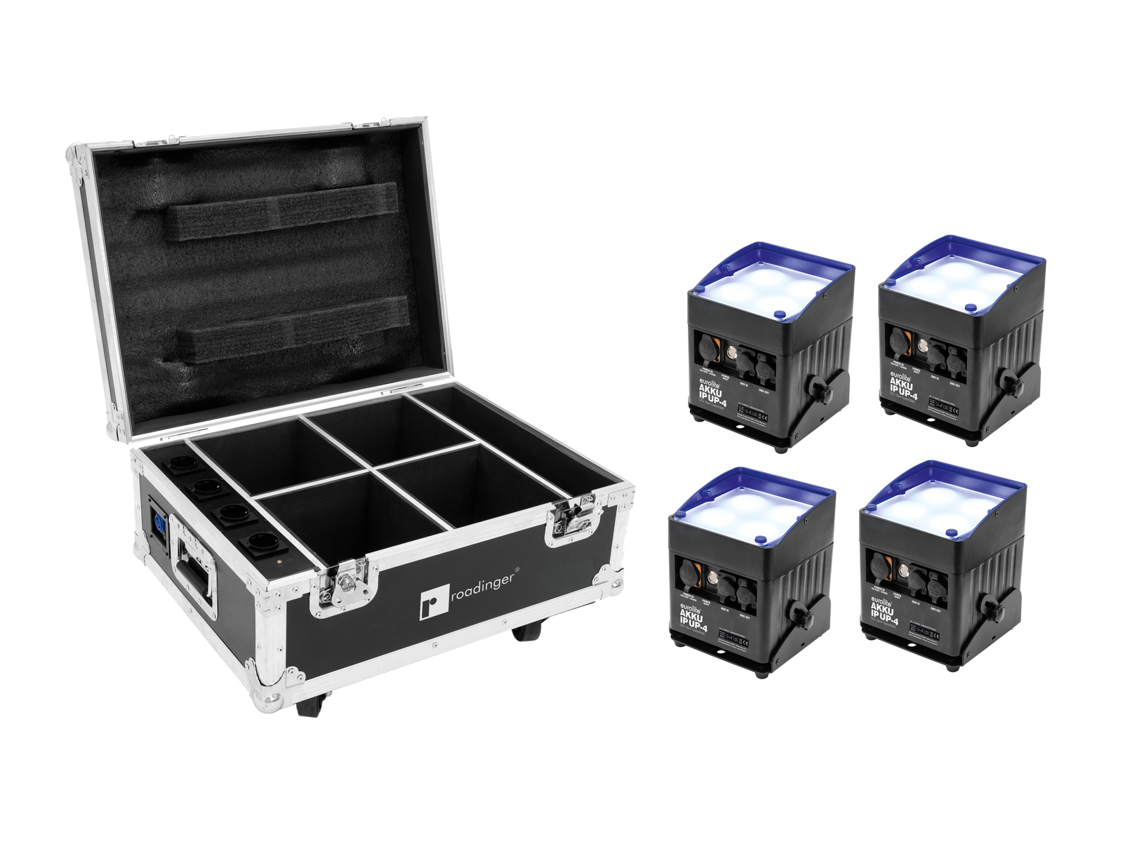 EUROLITE Set 4x AKKU IP UP-4 QLC Posto QuickDMX + Flightcase con