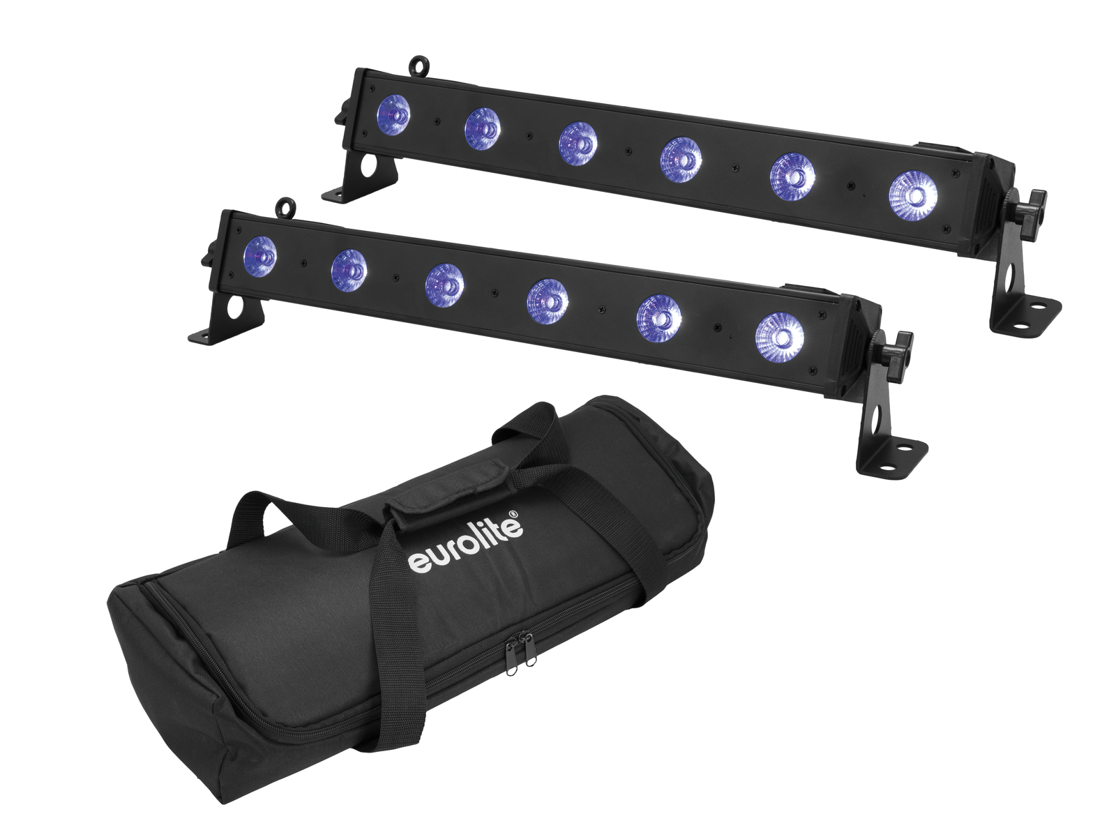 EUROLITE Set 2x LED BAR-6 QLC RGB+UV Bar + Soft Bag