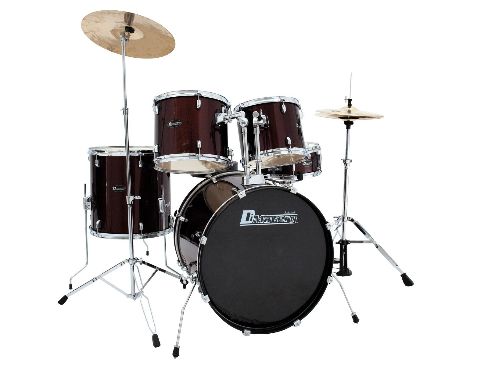 DIMAVERY DS-205 Drum set, rosso