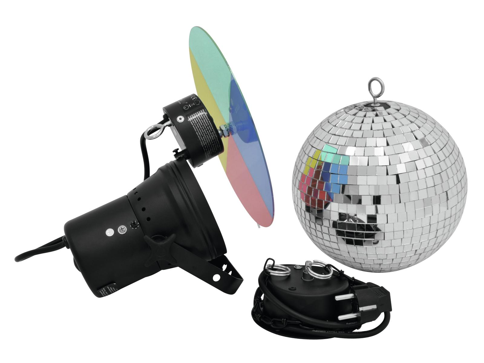 EUROLITE Mirror ball set di 20cm con pinspot