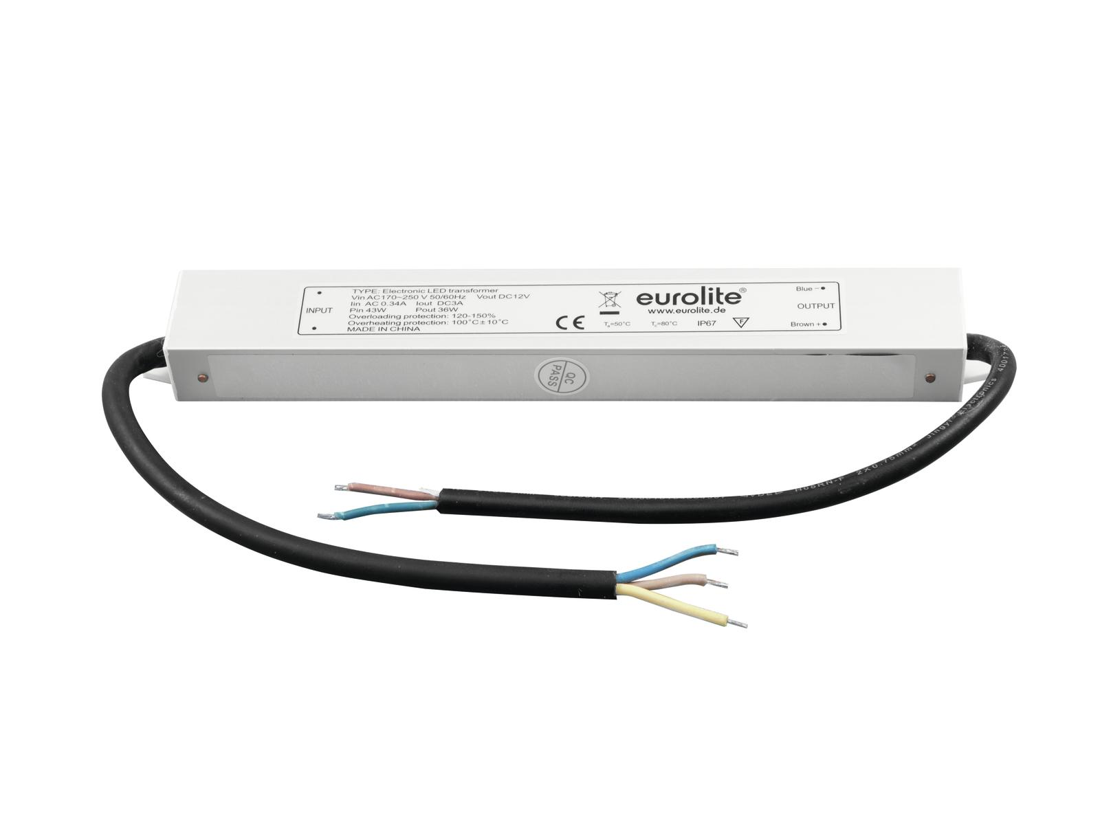 Transformer EUROLITE for LED strips 12V, 3A IP67