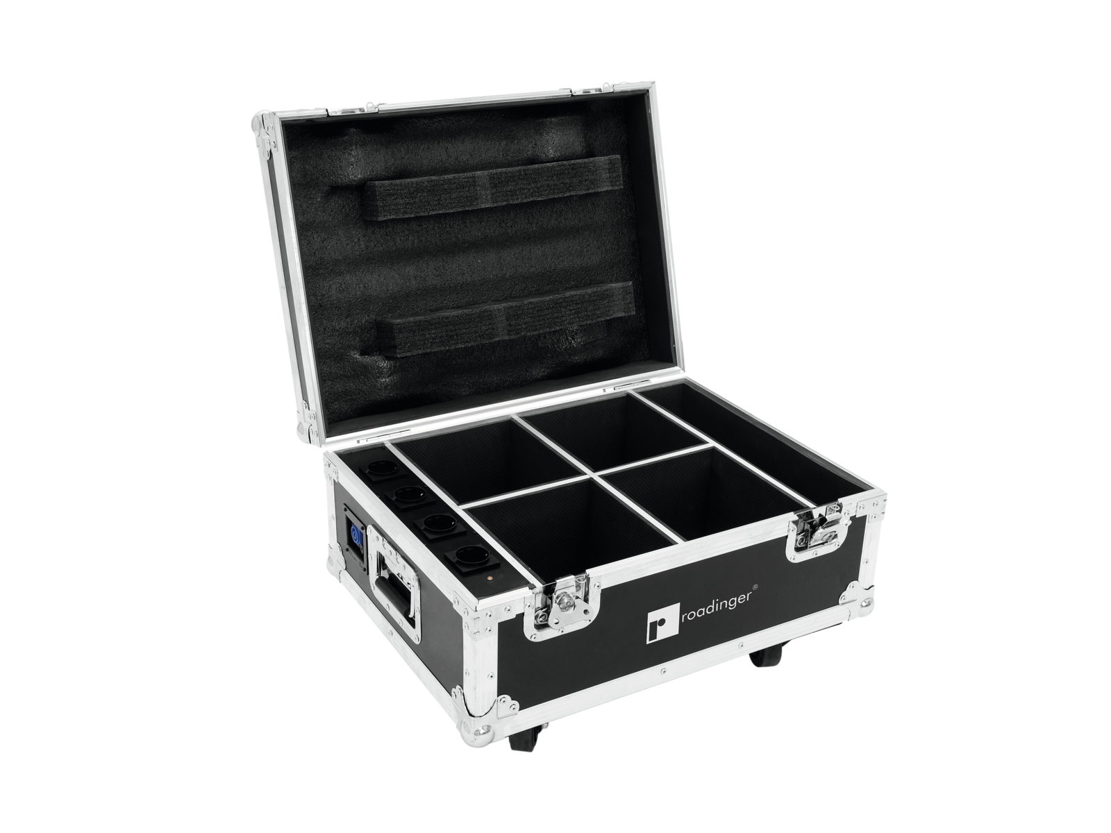 ROADINGER Flightcase 4x AKKU UP-4 QuickDMX con la carica di distri