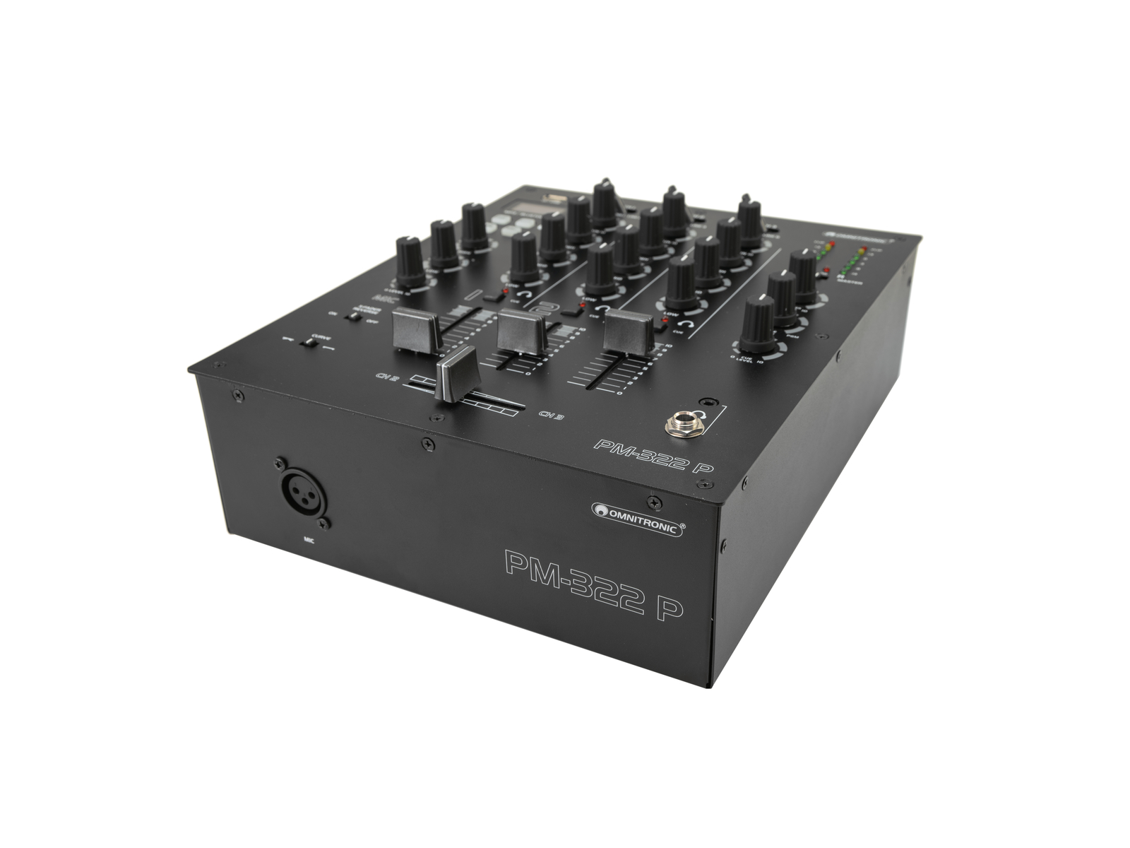 OMNITRONIC PM-322P 3-Kanal-DJ-Mixer mit Bluetooth und USB-Player