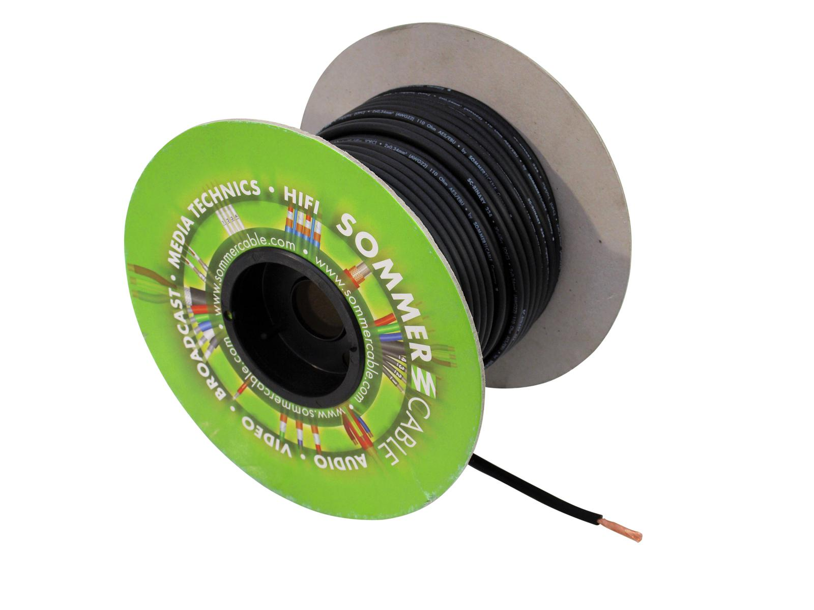 Sommer Cable DMX cable spool skein 2x0,34 100m SW BINARY FRNC