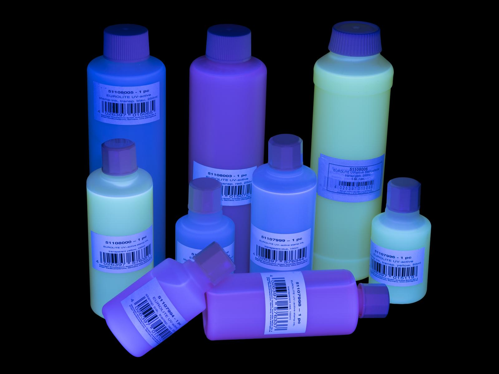 Eurolite ink for stamp UV-active, 250 ml, color: transparent, blue
