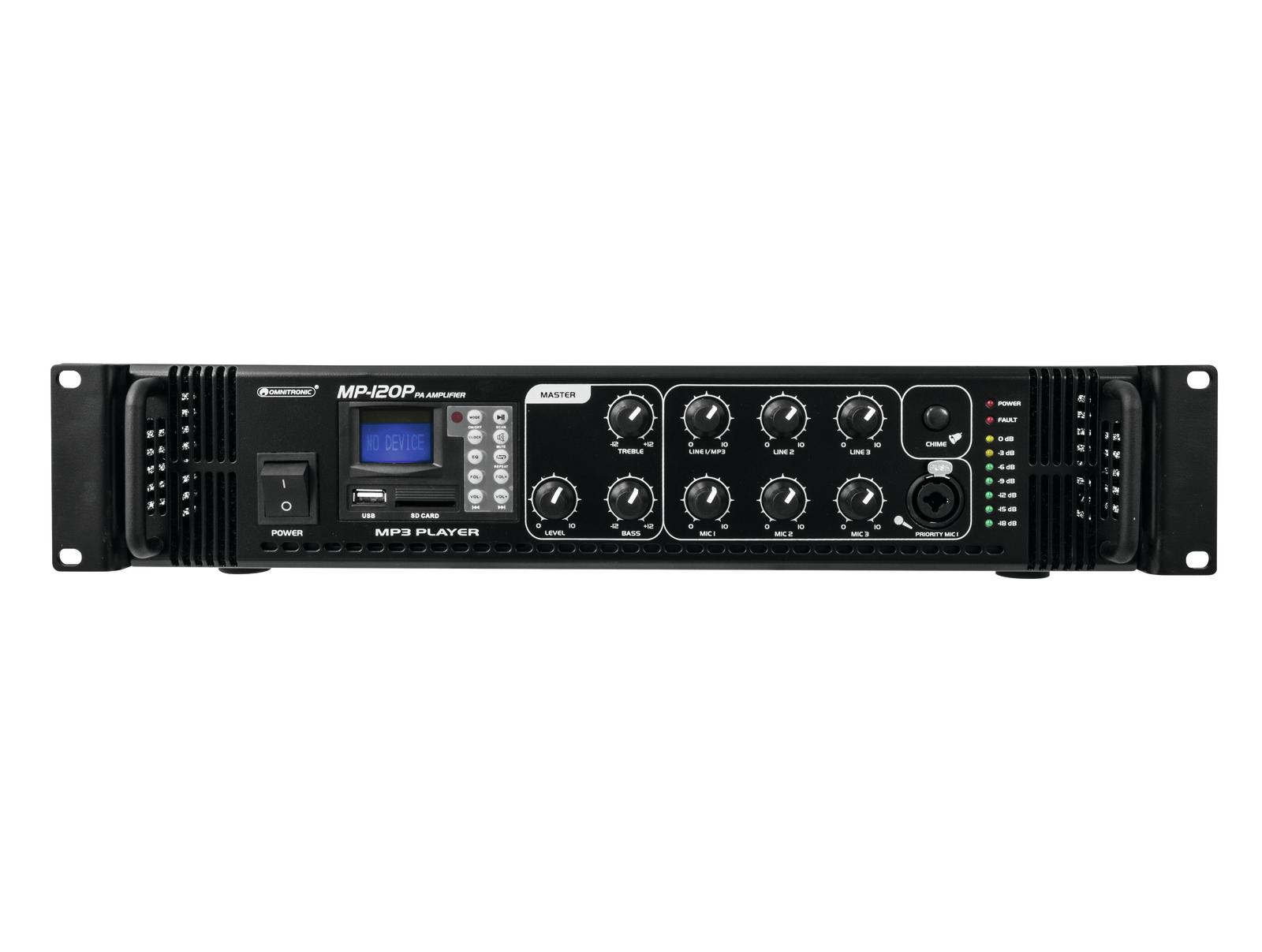 OMNITRONIC MP-120P amplificatore mixer lettore MP3 SD USB telecomando IR 240 W