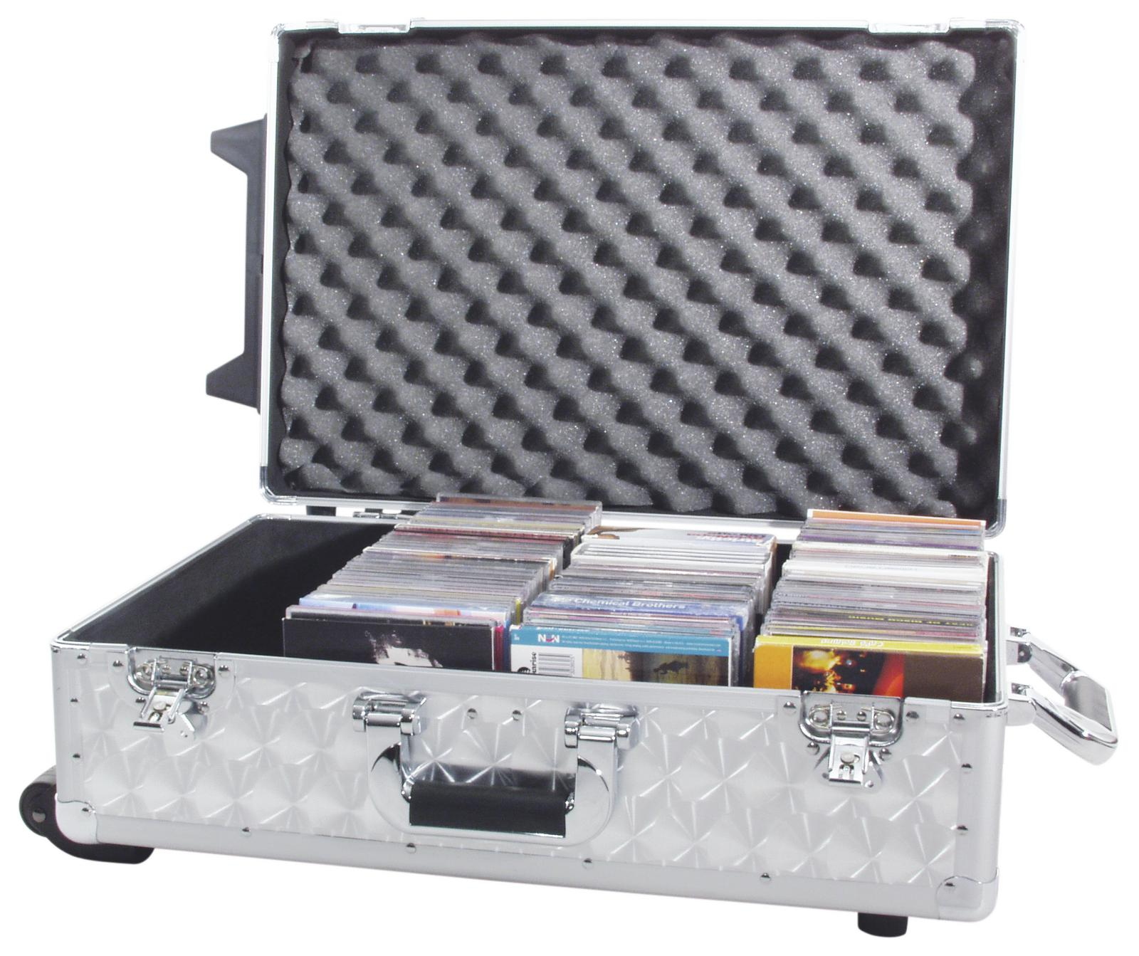 Flight case trolley cdj e cd musicali ROADINGER silver 120 cd's