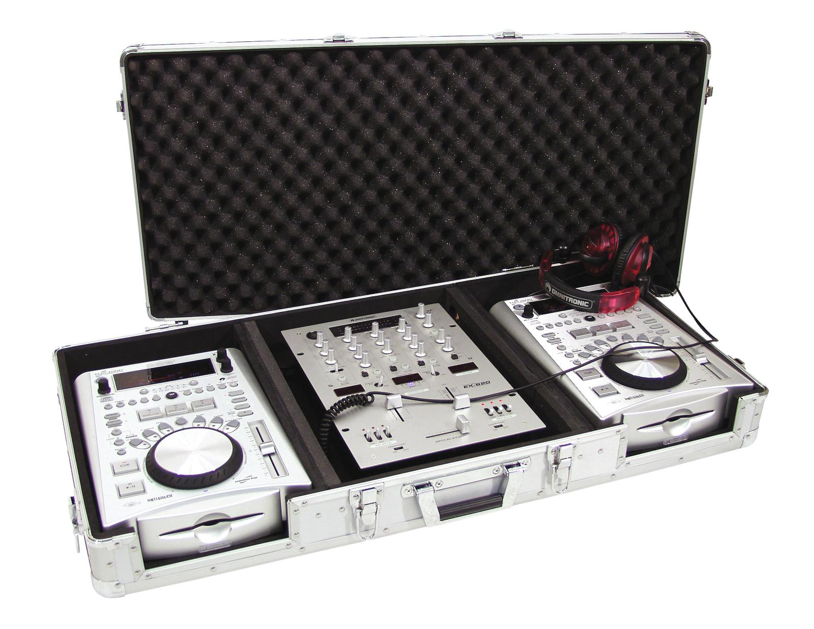 Flight Case Custodia Per Console Cdj Mixer Pc ROADINGER DIGI-1 2xCD/1xM-12 sil