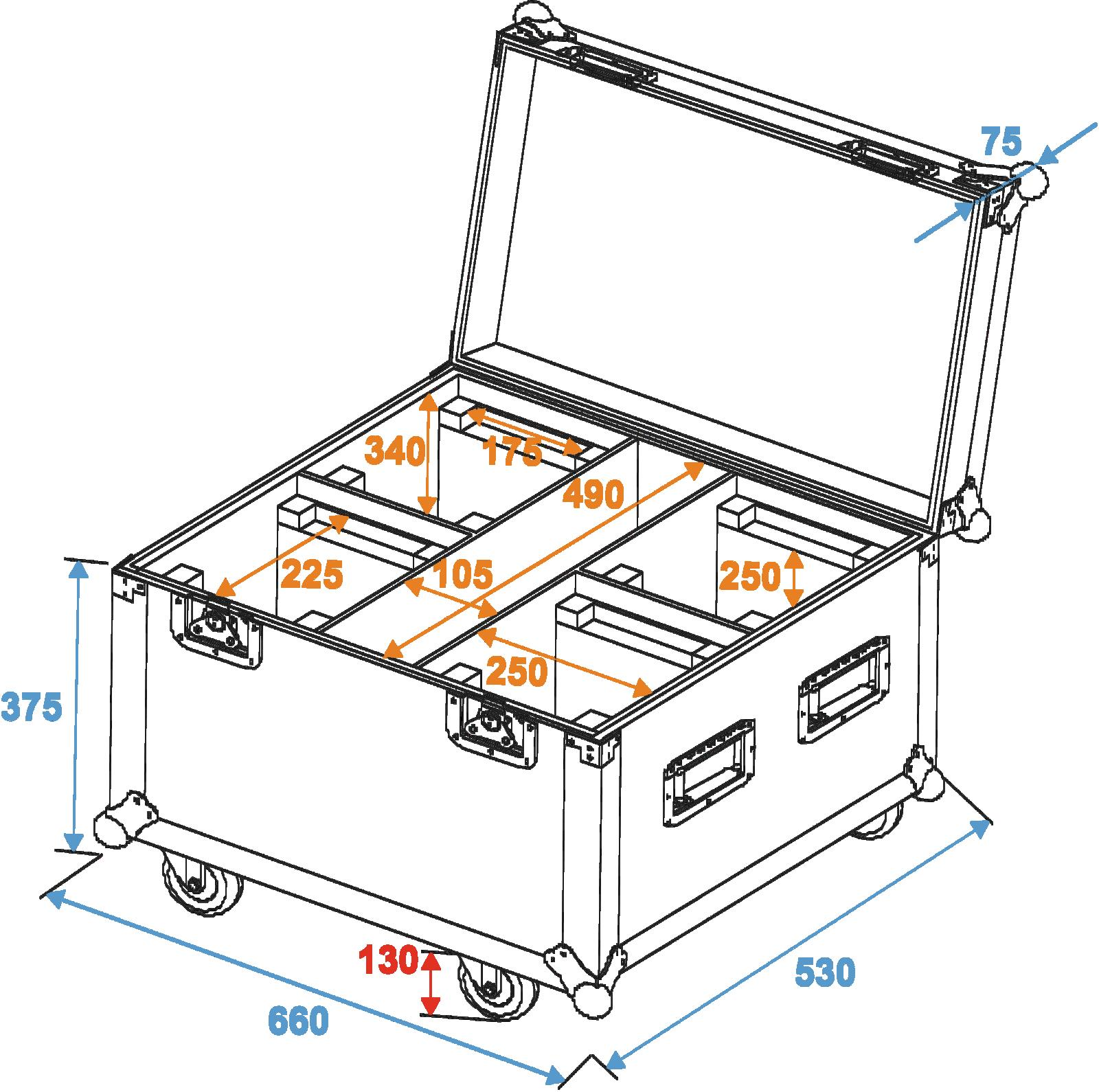 ROADINGER Flightcase 4x OCCHIO-7 led RGBW