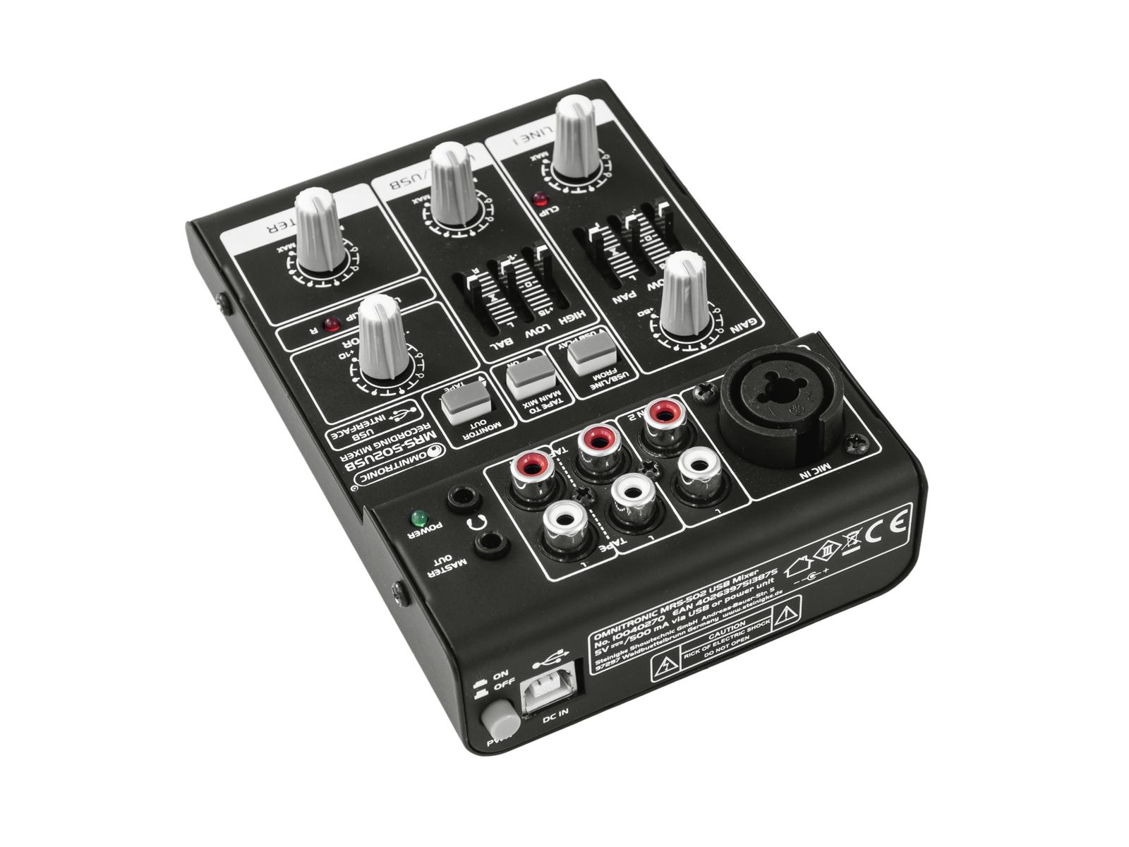 Mixer per dj usb interfaccia audio pc mac 2 canali OMNITRONIC MRS-502USB