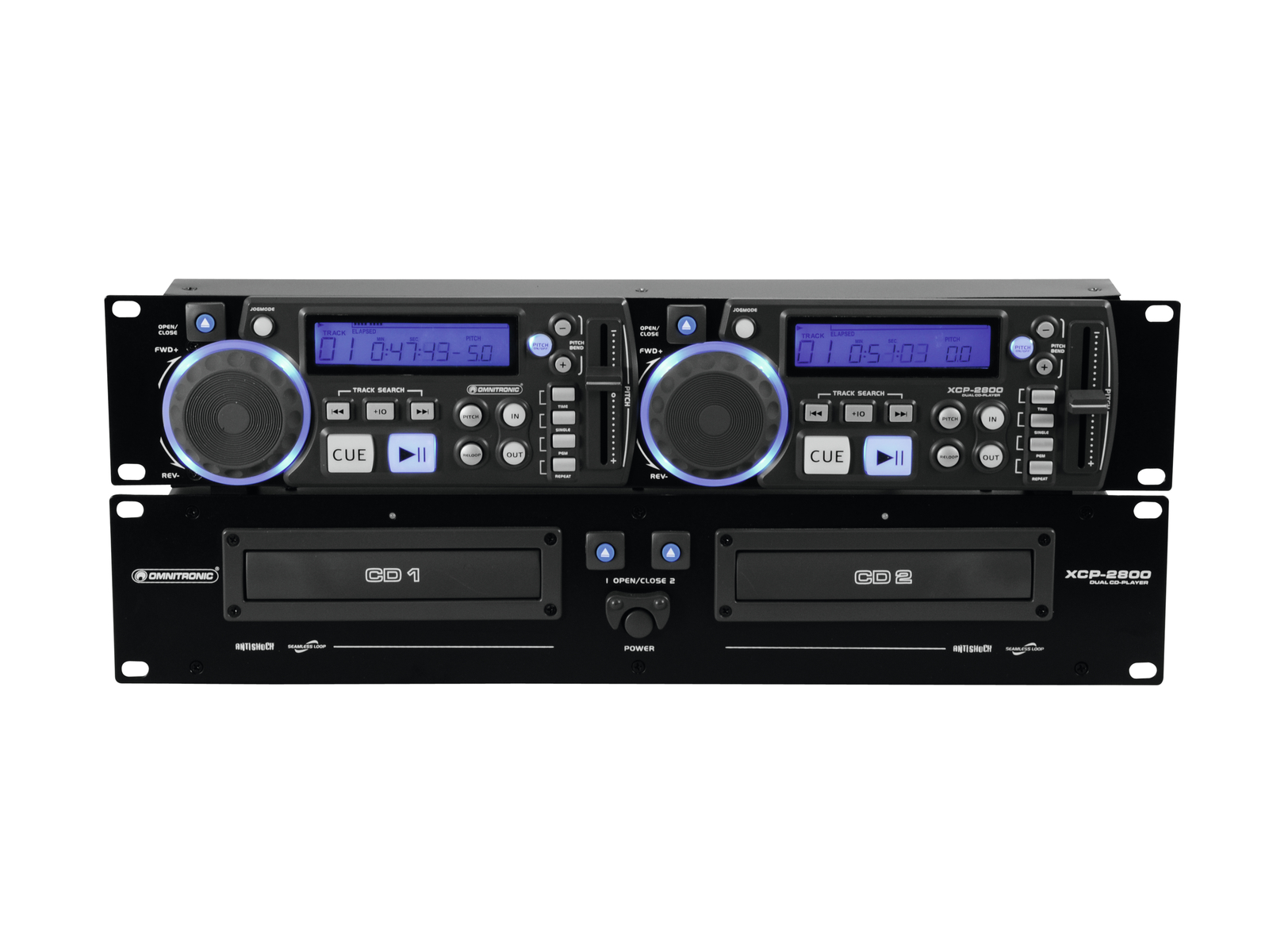 Doppio Lettore CD per dj a rack anti-shock Pitch control OMNITRONIC XCP-2800